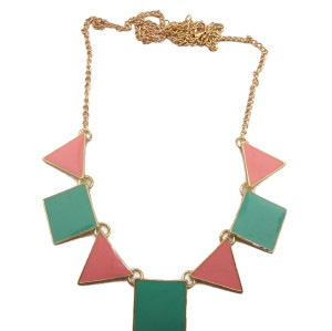 New Arrival Gold Plated Alloy Colorful Enamel Square Triangle Pendant Necklace N-4756