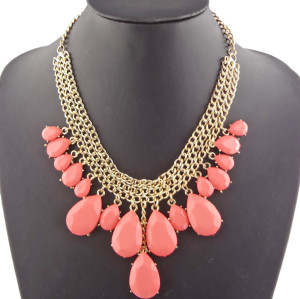 New Arrival Gold Plated Alloy Colorful Resin Drip Pendant Necklace N-1325