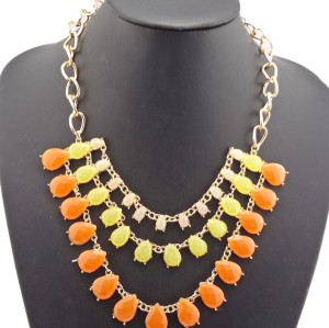 Charming Gold Plated Alloy Colorful Resin Drop Choker Necklace 6 colors N-0538