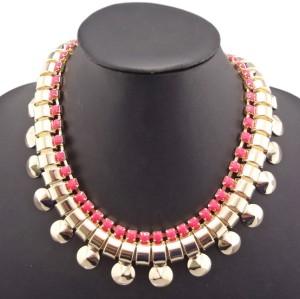 European Fashion Gold Plated Metal Rivet Resin Gem Choker  Necklace N-1278