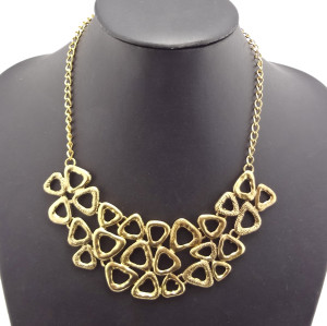 Vintage Gold Alloy  Hollow Out Flower Choker Necklace N-1774