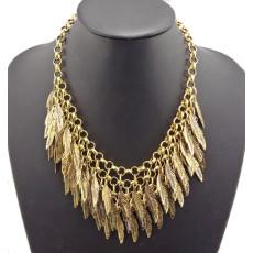 Vintage Gold Plated Alloy Multilayer Leaves Tassel Choker Necklace N-1851