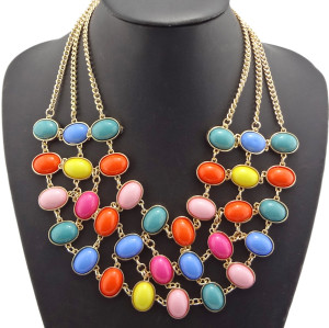 Vintage Style  gold plated metal Multilayer ellipse gem Choker Charms Necklace N-0514