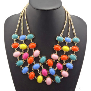 Vintage Style  gold plated metal Multilayer ellipse gem Choker Charms Necklace N-0514