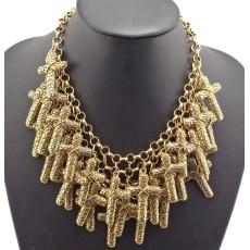 New Fashion European Vintage Gold Metal Cross Pendant Choker Necklace N-1805