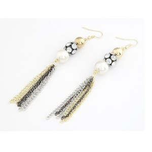 New European Style Gold Plated Alloy Rhinestone Ball Pearl Tassel Earring E-0092