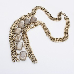 Retro Western Style bronze Metal crystal fashion Sweater Chain necklace N-1264