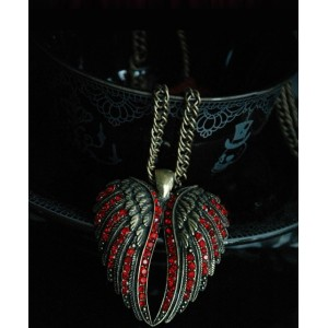 New Arrival Punk Style Vintage Bronze Red Rhinestone Wing Pendant Sweater Necklace N-2816