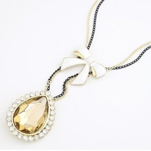 double chain bowknot big crystal drop fashion sweater chain necklace N-2277