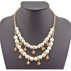 New Fashion Charming Faux Pearl Beads Rhinestone Resin Ball Golden Metal Chain Double Pendant Necklace N-1516