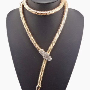 New Fashion Long Chain gun black gold Silver plated rhinestone snake Necklace N-4001