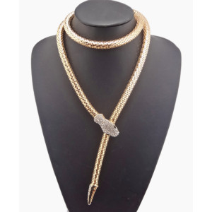 New Fashion Long Chain gun black gold Silver plated rhinestone snake Necklace N-4001
