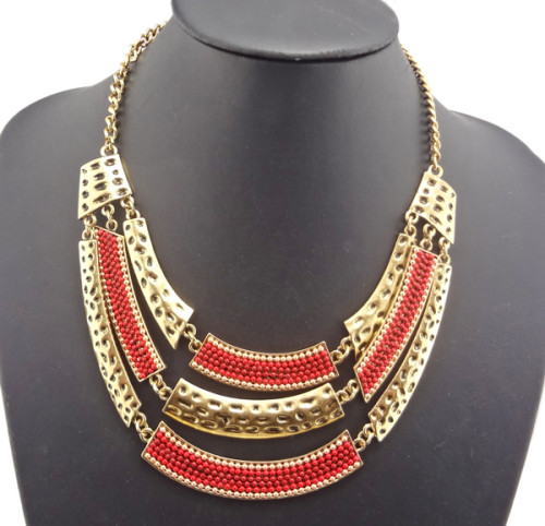 vintage style gold metal multilayer spot beads choker necklace N-1755
