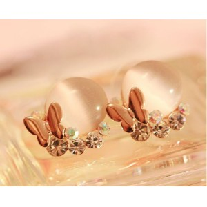 New Arrival Charming Korea Style Gold Plated Metal Gem Resin Butterfly Ear Stud E-1502