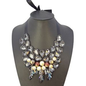 New Arrival Shinning Acrylic Drop Beads Tassel Choker Collar Necklace N-2264