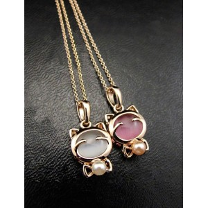 New charming gold plated opal Cat's Eye pearl bowknot cat ring earring necklace set
