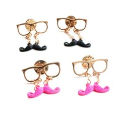 New European Lovely Mustache Glass Fashion Collor Brooch Pin P-0061