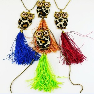 New European leopard print thread Tassel Rhinestone owl Pendant Necklace N-2513