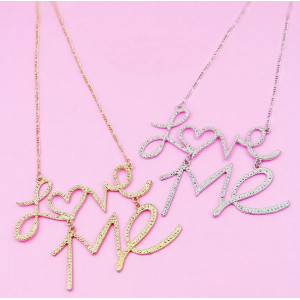N-2875 New Fashion Hammered Silver Plated Golden Metal Pendant Letter Love Me Necklace