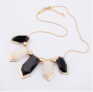European Style Gold Plated Alloy Resin Geometry Choker Necklace  N-4505