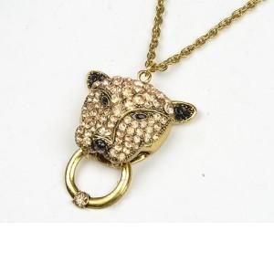 New European Vintage Style Gold/Vintage Gold Rhinestone Lion Pendant Necklace N-3258
