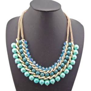European Style Multilayer gold plated chains crystal beads faux pearl link Necklace N-1513