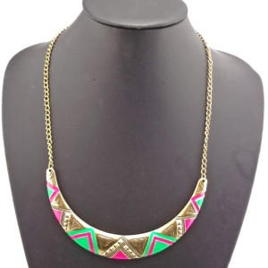 European Punk Vintage Style  Crescent Enamel Triangle Choker Necklace N-2088