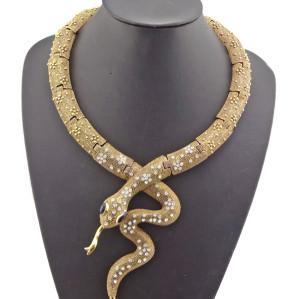 New European Style Gold/Sbronze/ Vintage Silver Flower Rhienstone Snake Choker Necklace N-4002