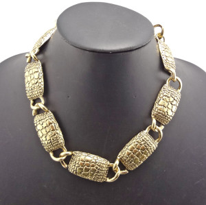 New Punk Vintage Style Bronze Alloy Link Geometry Choker Necklace N-1839