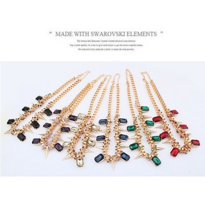 Western Punk Style gold plated Chain crystal rivets Necklace N-0264