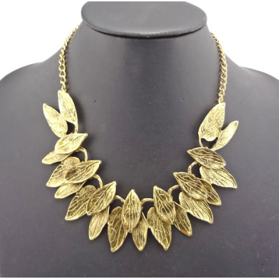 New Arrival European Style Vintage Style Gold Leaf Choker Necklace N-1845