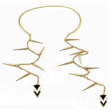 Fashion European Style Golden Rivet Tassel Geometry Triangle Necklace N-2019