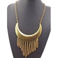 New Arrival European Vintage Style Gold Metal Charm Choker Tassel  Pendant  Necklace N-2015