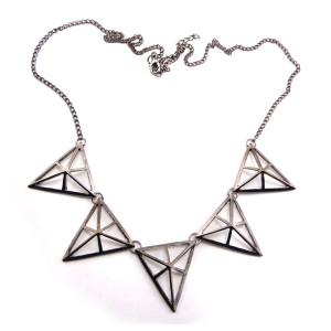 European Style Ladies Bronze/Gun Black Hollow-out Triangle Pendant Necklace N-4583