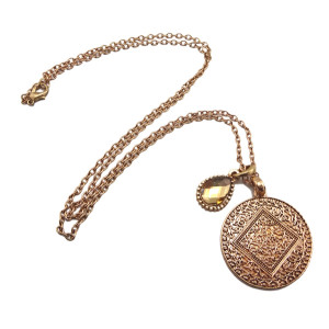 New Arrival European Style vintage gold metal crystal drop round Engraving Pendant Necklace  N-2290