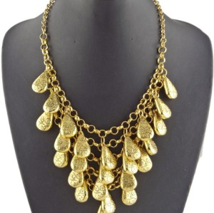 New Arrival Fashion Vintage Gold Multilayer Drop Pendant Choker Necklace N-1844