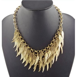 New Arrival Fashion Vintage Gold Multilayer Feather Wing Pendant Choker Necklace N-1847