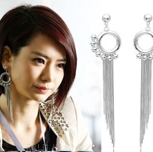 New Arrival Fashion Circle Beads Charming Long Tassel Ear Stud Earrings E-0080