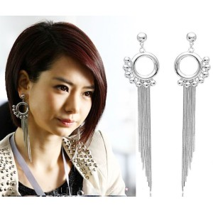 New Arrival Fashion Circle Beads Charming Long Tassel Ear Stud Earrings E-0080