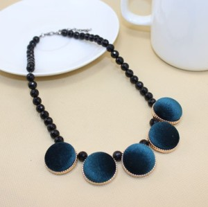 Fashion Vintage Style Geometrical Lint Round Pleuche Gem Ball Chain Choker Necklace N-4594