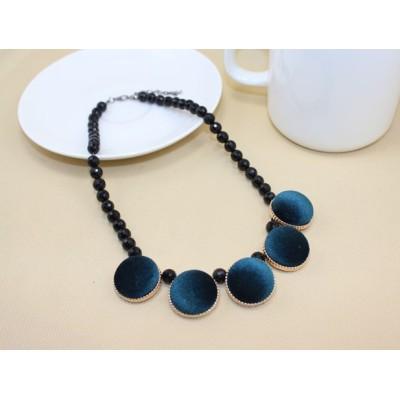 Fashion Vintage Style Geometrical Lint Round Pleuche Gem Ball Chain Choker Necklace N-4594