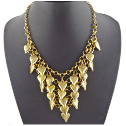 New European Style Vintage Gold Plated Multilayer Heart Tassel Choker Necklace N-1804