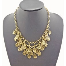 New Arrival European Fashion Multilayer  Charming Leaf Tassel Choker Necklace N-1840