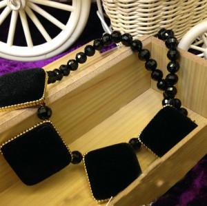 Vintage Style Geometrical Lint Geometry Sqrare Pleuche Gem Ball Chain Choker Necklace N-4593