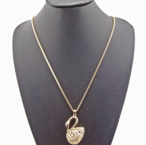New European Style Gold/Silver Plated Alloy Crystal Swan Pendant Neclace N-3387