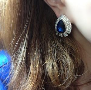 New Kovea Style Gold Plated Alloy Rhinestone Drop Crystal  Earring E-0268