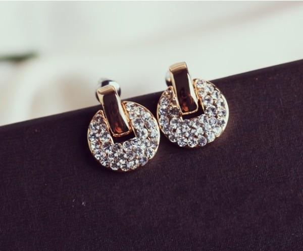 New Arrival Fashion Charming Golden Rhinestone Copper Cash  Ear Stud Earrings E-1105
