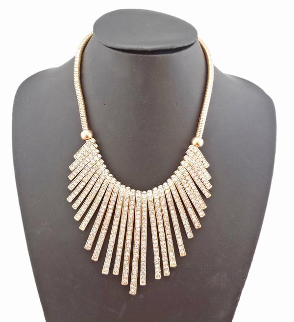 New European Style Gold/Silver Plated Alloy Rhinestone Tassel  Bib Choker Necklace N-1028
