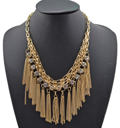 Multi Layers gold silver gun black plated crystal tassels Statement Necklace N-1758