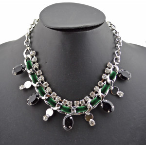 Fashion Style Silver plated Rhinestone  Rope Faux Gem Choker Statement Necklace N-1018N-1018